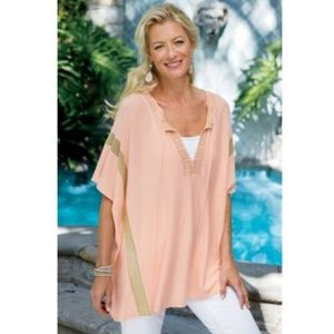 Soft Surroundings shimmer geo sweater